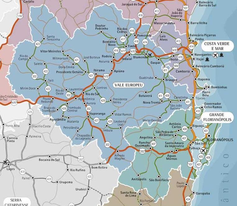 Mapa de Atuação em Santa Catarina
